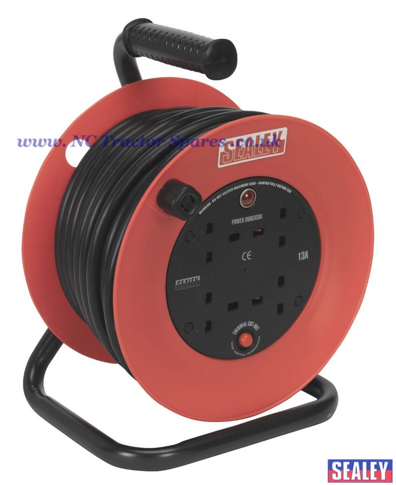 Cable Reel Box Type 15mtr 4 x 230V 1.25mm Heavy-Duty Thermal Trip